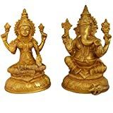 Laxmi Ganesh Pair Of Brass In Golden For Your Home & Temple By Maadhav Store