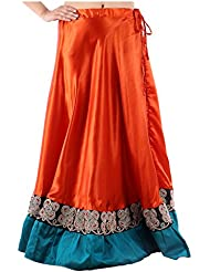 Sunshine Enterprises Women's Satin Wrap Skirt (Orange)
