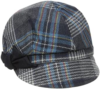 San Diego Hat Women's Plaid Hat with Side Bow, Navy, One Size