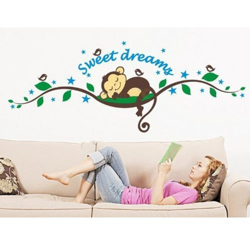 MZY LLC (TM) Sweet Dreams Monkeys and Tree Branch Birds Giant Baby Wall Sticker Decals Super for Boys and Girls Nursery Room Home Decor Decal Children's Room - 1
