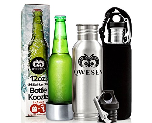 Beer Bottle Koozie by QWESEN /Stainless Steel Cooler Insulator/ Best Koozies With Bonus Insulated Bag And Bottle Opener - Fits Standard 12oz Bottles - Ultimate Portable Beer Bottles Chiller&Protector (Fosters Beer Koozie compare prices)