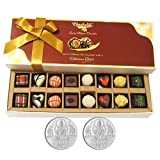 Chocholik Belgium Chocolates - 16pc Mix Assorted Surprise With 5gm X 2 Pure Silver Coins - Diwali Gifts