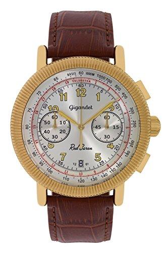 Gigandet Reloj de Hombre Cuarzo Red Baron IV Cronógrafo Analógico Cuero Oro Marrón G19-007