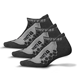 Thirty48 - Ru Cushioned Running Socks Series, 3 Pack, with CoolMax® Fabric Keeps Feet Cool and Dry