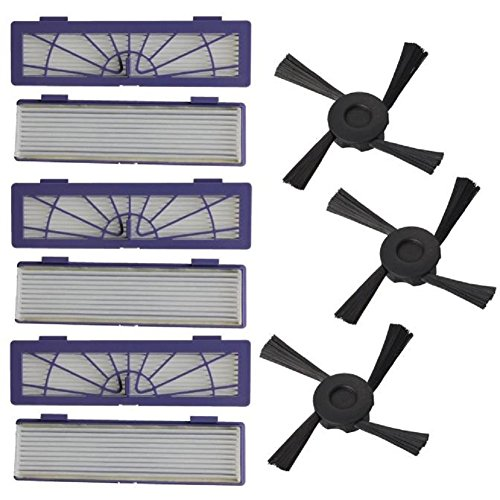 Misaky 6PC Filter + 3PC Side Brushes Replacement for Neato Botvac 70e 75 80 85