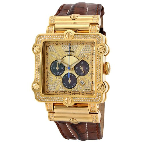 "Just Bling Men's JB-6215-238-A ""Phantom"" Brown Diamond And Gold Bezel Leather Band Watch"