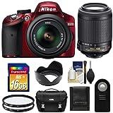Nikon D3200 Digital SLR Camera & 18-55mm G VR DX AF-S Zoom Lens (Red) with 55-200mm VR Lens + 16GB Card + Case + Filters + Remote + Accessory Kit