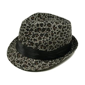 Animal Print Ribbon Band Fedora Straw Hat, Gray & Black Leopard