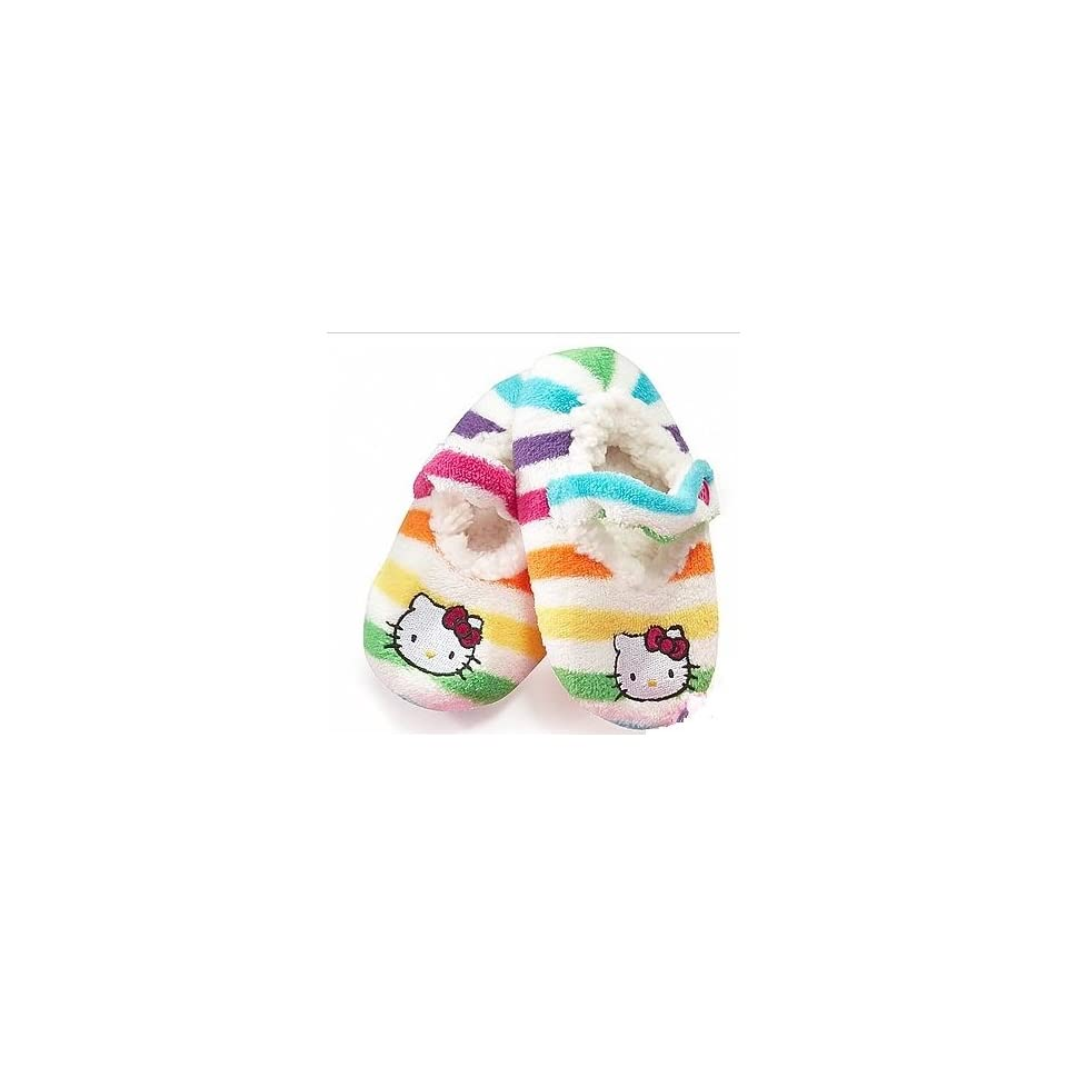 0551e3fc2 Hello Kitty Striped Embroidered Fuzzy Babba Slipper Socks on PopScreen