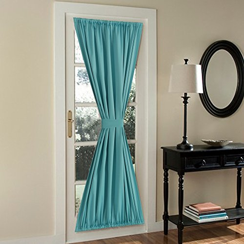 FlamingoP French Door Curtains,Solid Blackout Rod Pocket, Single Panel, 54 x 72 Inches, Aqua (French Door Panel Curtains Blue compare prices)