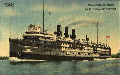 Steamer Greater Detroit Boats Ships Original Vintage Postcard