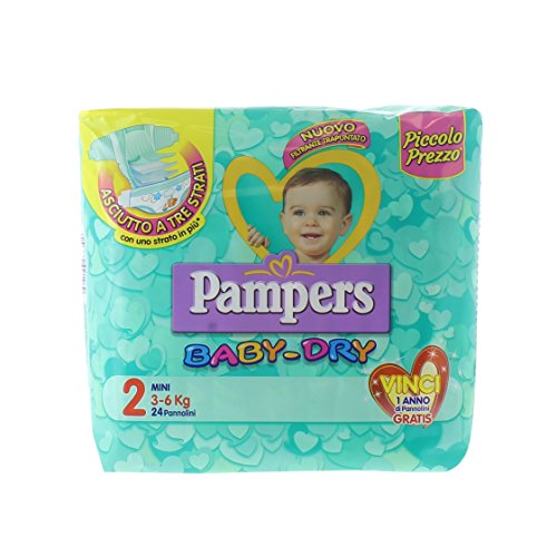 Pampers Baby Dry, 24 Pannolini, Taglia 2 (3-6 Kg)