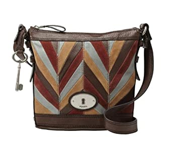 Fossil Maddox Top Zip Crossbody (Chevron Patchwork)