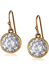 """Trina Turk """"Cubist House"""" Gold Circle with Crystal Stone Drop Earrings"""