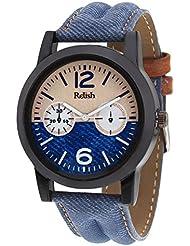 Relish Denim Leather Strap Multicolor Dial Men's Watch RELISH-531