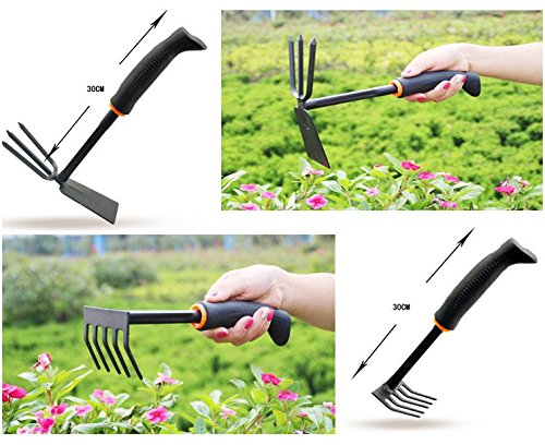 Gardening tools 4 piece garden tool set big trowel for Large rake garden tool