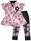 Gowri Marketing Girl's Synthetic Clothing Set (GM00072, Pink and Black, 2-3 Years)