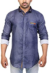 Trezer Live Men's Casual Shirt (Blue, X-Large)