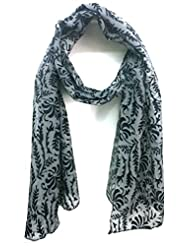 Scarfking Scarfking Self Design Burnt Out Stolegrey Black