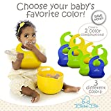 ULTIMATE Soft Silicone Baby Bibs - Your Toddler Will Love The Comfort, Rolls Up, Waterproof, Cleans & Dries Fast- FREE Fingers & Toe Guard - Wide Food Catcher Pocket - GREEN & YELLOW For Boys Or Girls