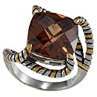 Sterling Silver Two-Tone Square Coffee CZ Twisted Ring - Size 7 (Available in sizes 6 through 9)