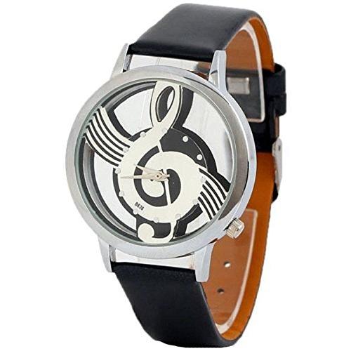 Suppion Watches Note Music Notation Leather Quartz Wristwatch