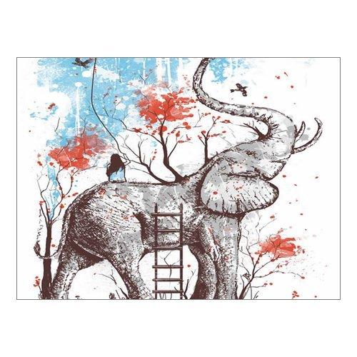 Custom Beautiful Modern Art Abstract Painting Elephants And Flowers Canvas Print