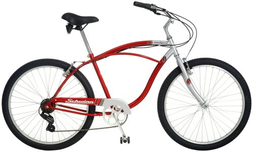 Schwinn Southport Men's Cruiser Bike (26-Inch Wheels, Silver/Red)