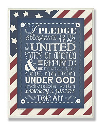 The Kids Room by Stupell Pledge of Allegiance with American Flag Background Rectangle Wall Plaque