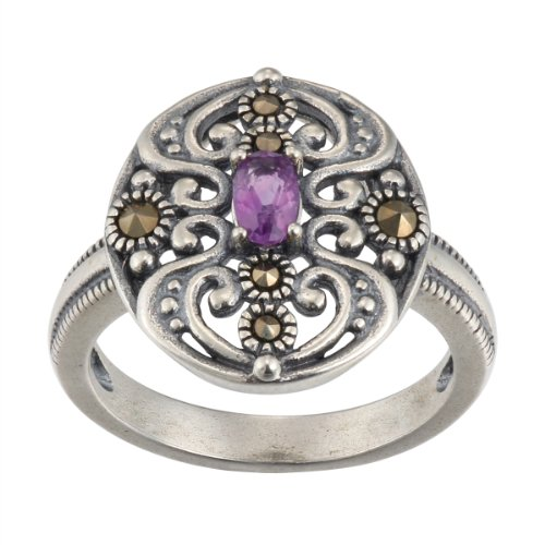 Sterling Silver Africa Amethyst Ring, Size 7