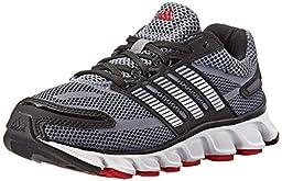adidas Performance Powerblaze Running Shoe (Little Kid/Big Kid), Core Black/Silver/Solar Red, 3 M US Little Kid