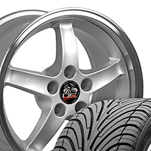 Cobra R Deep Dish Style Wheels and Tires with Machined Lip Fits Mustang (R) - Silver17x9 Set of 4