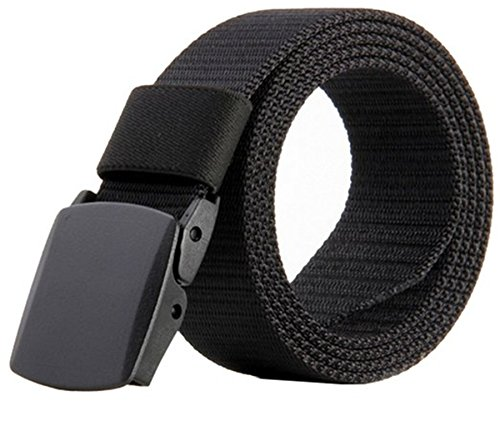 JasGood Nylon Canvas Breathable Quick-Drying Military Tactical Style Adjustable Waist Web Men Belt With Plastic Buckle JA015_Black (Jean Belts For Men compare prices)