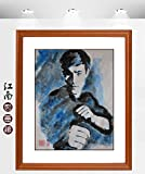 Artwork Unframed Hand Painted Art Chinese Brush Ink and Wash Watercolor Painting Drawing Picture on Rice Paper kungfu Bruce Lee Decorations Decor for Office Living Room Bedroom