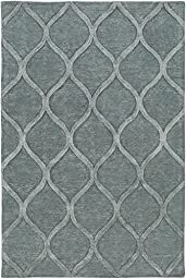 Blue Wool Rug Contemporary Carpet 2-Foot 3-Inch x 12-Foot Hand-Made Trellis