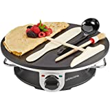 Andrew James 1200 Watt Professional Electric Crepe Maker With 2 Year Warranty - New Improved Model - Includes Batter Spreader, Wooden Spatula, Oil Brush and Ladle