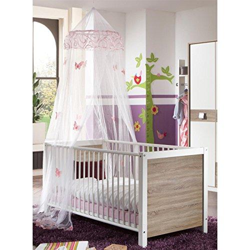 Babybett Kinderbett, weiß/Eiche sägerau, mit Schlupfsprossen