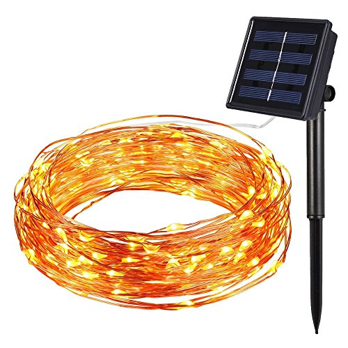 Solar Power String Light Waterproof LED Strip 10m 100 LED Copper Wire lamp Warm White For Outdoor Christmas decoration lights (Tube Chicken Feeder compare prices)
