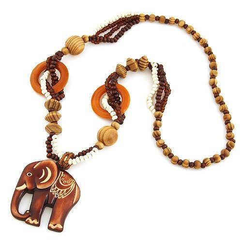 SwirlColor Mode Bohême vintage ethnique chaîne Bois éléphant Pendentif long pull Colliers et pendentif de femmes