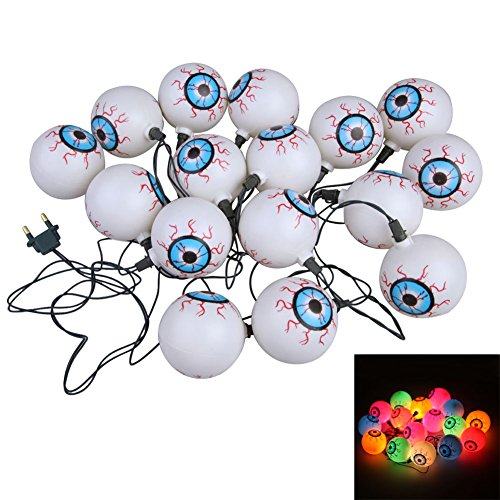 Vakind 16Psc Halloween Glowing Spooky Eyeball String Light Set