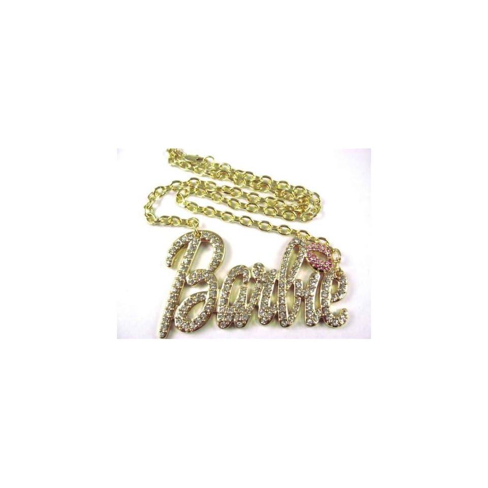 NEW NICKI MINAJ BARBIE Pendant w/18 Chain Gold Lg Clear