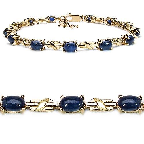 9.10 Carat Genuine Blue Sapphire 14K Gold Plated Sterling Silver Bracelet