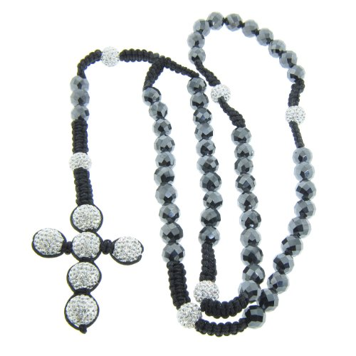 10mm Faceted Hematite Gemstone with 12mm White Czech Crystal Rosary Necklace