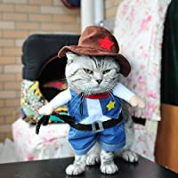 Pet Clothes Cowboy Cosplay Costume Cat Dog Blue Jeans Hat Outfit Funny Party Apparel