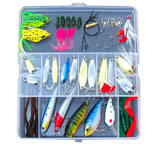 Zolink Fishing Lure Kit 1 Set 54pcs, Metal Wire Bait Popper VIB Crank Pencil Minnow Lure Soft Frog Lure Hook Lead in Plastic Tool Box