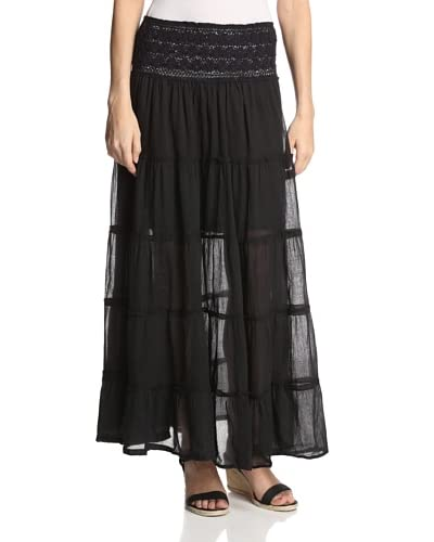 Vintage Havana Women's Tiered Crochet Waist Maxi Skirt