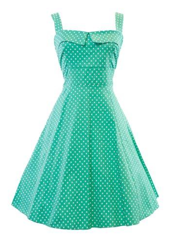 Sidecca Retro 1950S Polka Dot Empire Swing Dress-Jade-Small front-463743