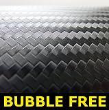 1520mm x 500mm 3D Black carbon fibre Vinyl bubble Free Vinyl Car Van Bike Self Adhesive 3d Textured Wrap Wrapping 500mm x 1520mm [1.5 meters]