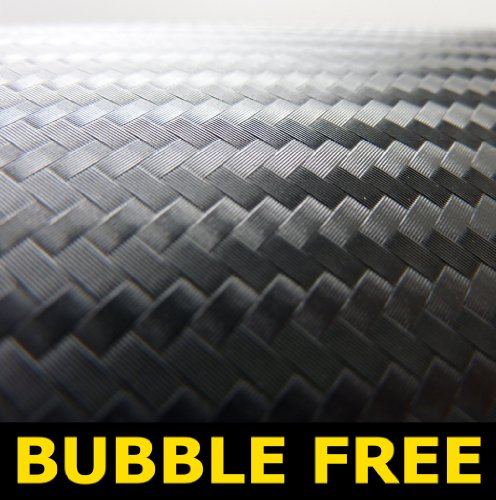 1520mm x 500mm 3D Black carbon fibre Vinyl bubble Free Vinyl Car Van Bike Self Adhesive 3d Textured Wrap Wrapping 500mm x 1520mm [1.5 meters]