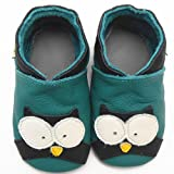 Sayoyo Baby Owl Soft Sole Leather Infant Toddler Prewalker Shoes (12-18 months, Green)